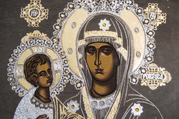Икона Божией Матери Троеручица № 1-01 из мрамора, камня, изображение, фото 6