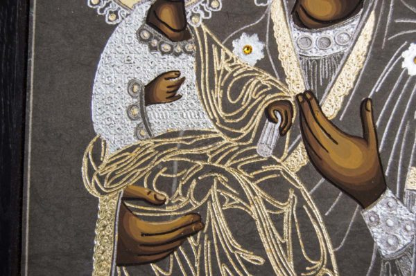 Икона Божией Матери Троеручица № 1-01 из мрамора, камня, изображение, фото 7