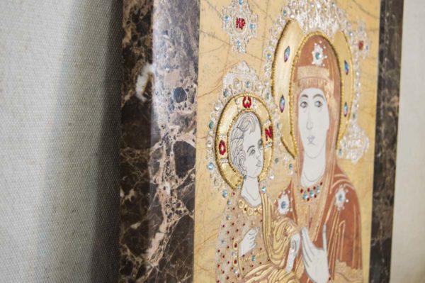 Икона Божией Матери Троеручица № 2-12-1 из мрамора, камня, изображение, фото 5