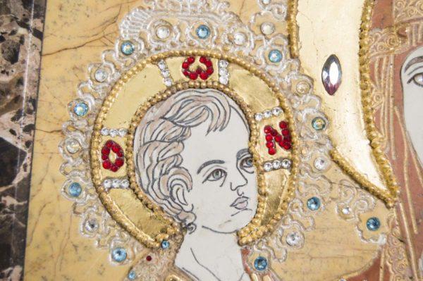 Икона Божией Матери Троеручица № 2-12-1 из мрамора, камня, изображение, фото 7