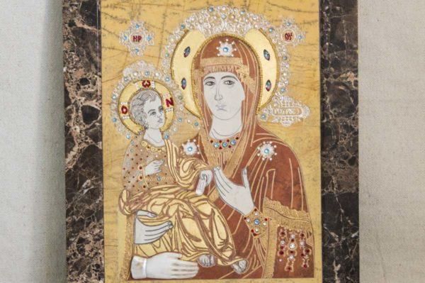 Икона Божией Матери Троеручица № 2-12-1 из мрамора, камня, изображение, фото 8