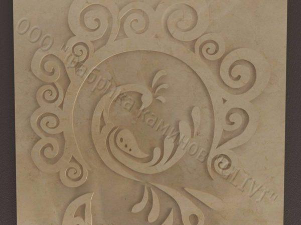 Барельеф из натурального камня (мрамора) Перо, фото 2