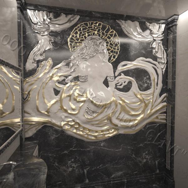 Барельеф из натурального камня (мрамора) Дама в черном мраморе, фото 4