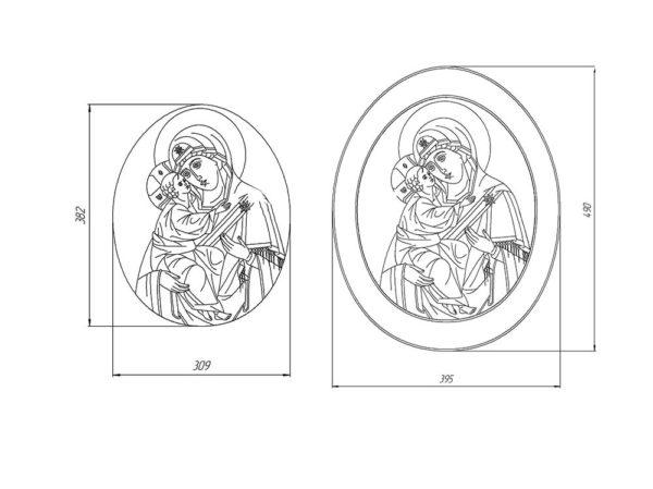 Икона Жировицкой Божией Матери № 2 (рельефная) из мрамора, камня, изображение, фото 7