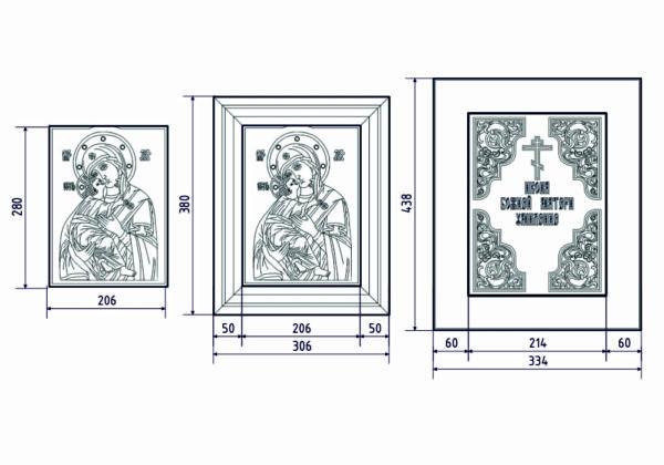 Размеры (схема) комбинированной иконы Владимирской от Гливи