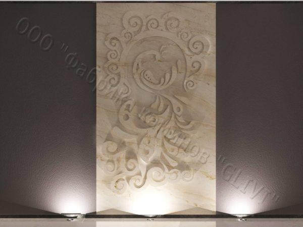 Барельеф из натурального камня (мрамора) Перо, фото 5