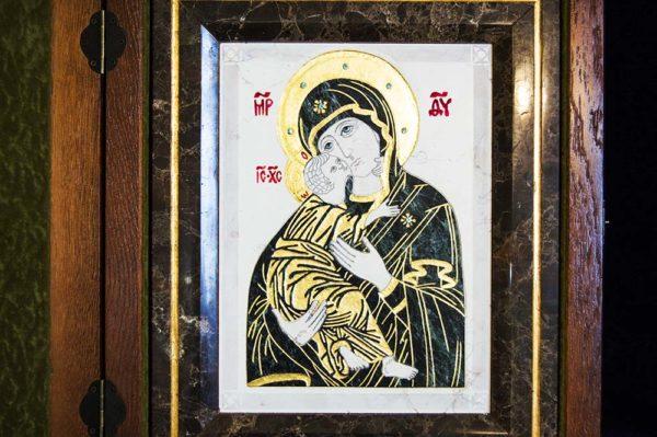 Икона Владимирской Божией Матери № 3 из мрамора, камня, от Гливи, фото 16