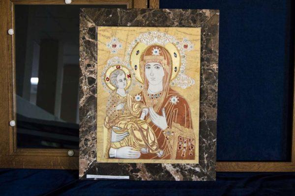 Икона Божией Матери Троеручица № 2-12-1 из мрамора, камня, изображение, фото 16