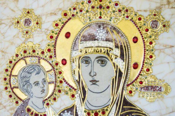Икона Божией Матери Троеручица № 2-12-2 из мрамора, камня, изображение, фото 18