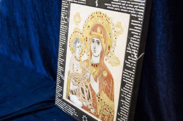 Икона Божией Матери Троеручица № 2-12-4 из мрамора, камня, изображение, фото 7