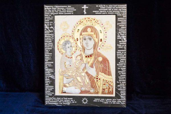 Икона Божией Матери Троеручица № 2-12-4 из мрамора, камня, изображение, фото 8