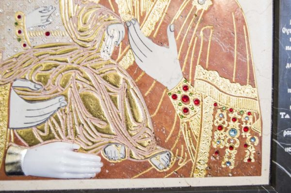 Икона Божией Матери Троеручица № 2-12-4 из мрамора, камня, изображение, фото 9