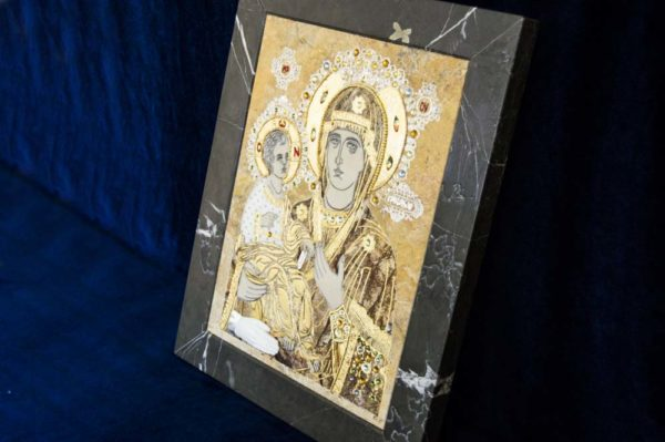 Икона Божией Матери Троеручица № 2-12-5 из мрамора, камня, изображение, фото 18