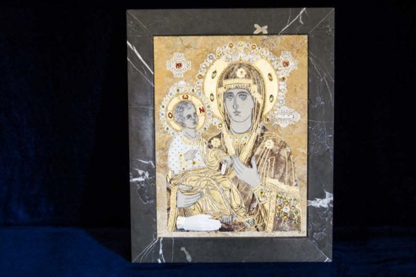 Икона Божией Матери Троеручица № 2-12-5 из мрамора, камня, изображение, фото 19