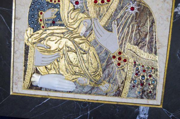 Икона Божией Матери Троеручица № 2-12-6 из мрамора, камня, изображение, фото 20
