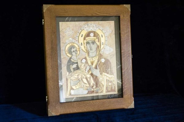 Икона Божией Матери Троеручица № 2-12-7 из мрамора, камня, изображение, фото 20