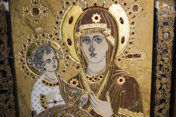 Икона Божией Матери Троеручица № 2-12-11 из мрамора, камня, изображение, фото 16