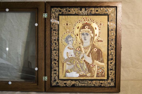 Икона Божией Матери Троеручица № 2-12-11 из мрамора, камня, изображение, фото 17