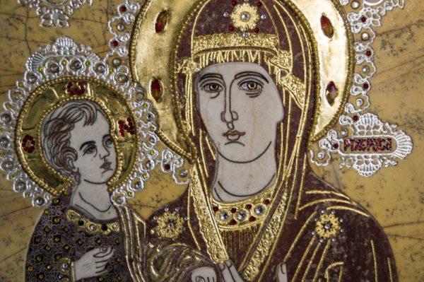 Икона Божией Матери Троеручица № 2-12-4 из мрамора, камня, изображение, фото 14