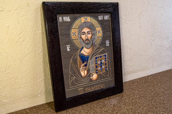 Икона Господа Вседержителя № 3-02 (Пантократор) из камня, Гливи, фото 1