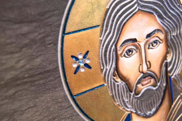 Икона Господа Вседержителя № 3-02 (Пантократор) из камня, Гливи, фото 3