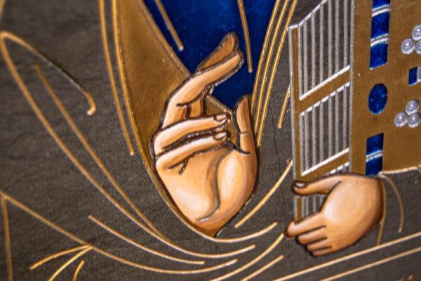 Икона Господа Вседержителя № 3-02 (Пантократор) из камня, Гливи, фото 6