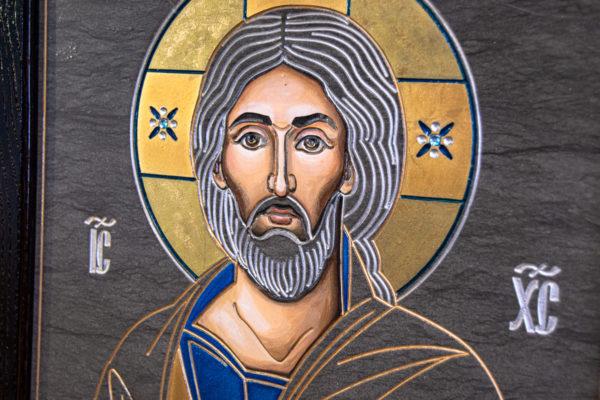 Икона Господа Вседержителя № 3-02 (Пантократор) из камня, Гливи, фото 8