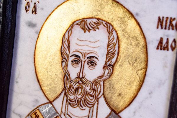 Икона Николая Чудотворца № № 4-26 из камня, от Гливи, фото 5