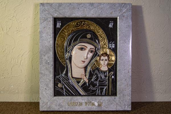 Икона Казанской Божией Матери № 3-12-7 из мрамора, камня, от Гливи, фото 1