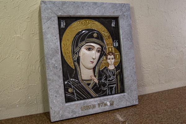 Икона Казанской Божией Матери № 3-12-7 из мрамора, камня, от Гливи, фото 2