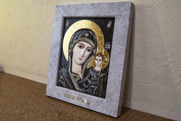 Икона Казанской Божией Матери № 3-12-7 из мрамора, камня, от Гливи, фото 3