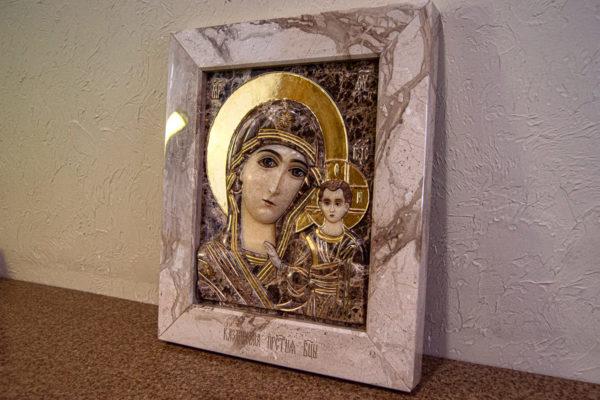 Икона Казанской Божией Матери № 4-12-2 из мрамора, камня, от Гливи, фото 4