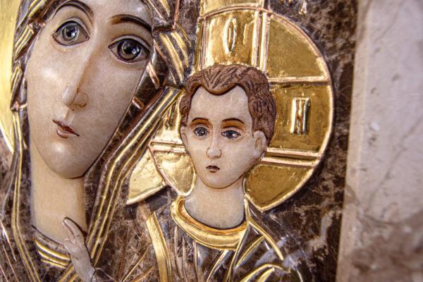 Икона Казанской Божией Матери № 4-12-2 из мрамора, камня, от Гливи, фото 6