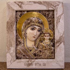 Икона Казанской Божией Матери № 4-12-2 из мрамора, камня, от Гливи, фото 15