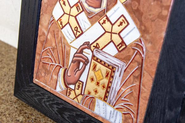 Икона Николая Чудотворца № № 4-27 из камня, от Гливи, фото 5