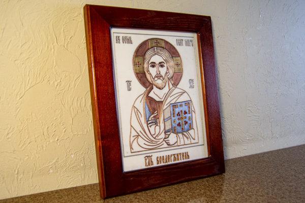 Икона Господа Вседержителя № 3-03 (Пантократор) из камня, Гливи, фото 2