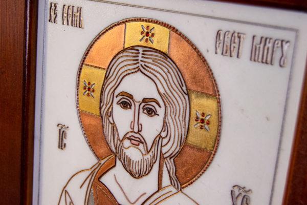 Икона Господа Вседержителя № 3-03 (Пантократор) из камня, Гливи, фото 8