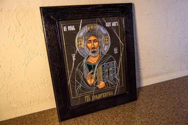 Икона Господа Вседержителя № 3-05 (Пантократор) из камня, Гливи, фото 4