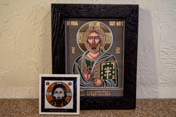 Икона Господа Вседержителя № 3-04 (Пантократор) из камня, Гливи, фото 2