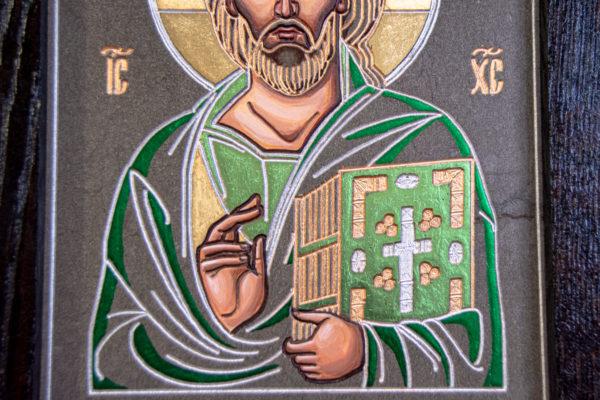 Икона Господа Вседержителя № 3-04 (Пантократор) из камня, Гливи, фото 5