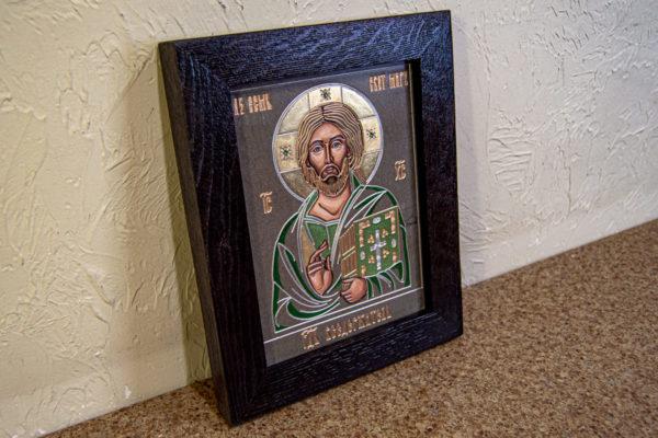 Икона Господа Вседержителя № 3-04 (Пантократор) из камня, Гливи, фото 6