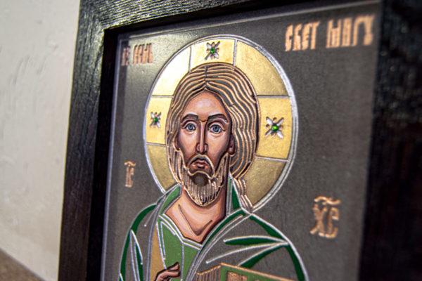 Икона Господа Вседержителя № 3-04 (Пантократор) из камня, Гливи, фото 8