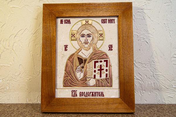 Икона Господа Вседержителя № 3-06 (Пантократор) из камня, Гливи, фото 1