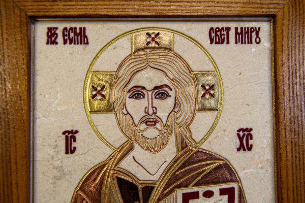 Икона Господа Вседержителя № 3-06 (Пантократор) из камня, Гливи, фото 2