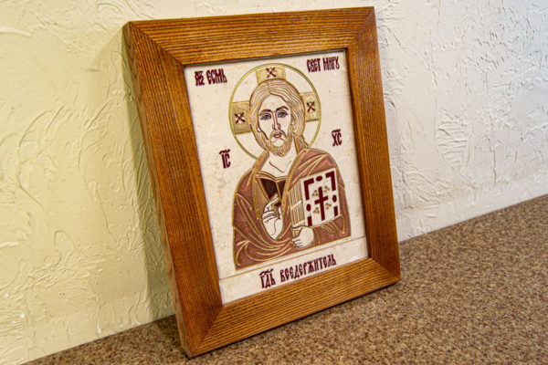 Икона Господа Вседержителя № 3-06 (Пантократор) из камня, Гливи, фото 7
