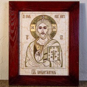 Икона Господа Вседержителя № 3-07 (Пантократор) из камня, Гливи, фото 1