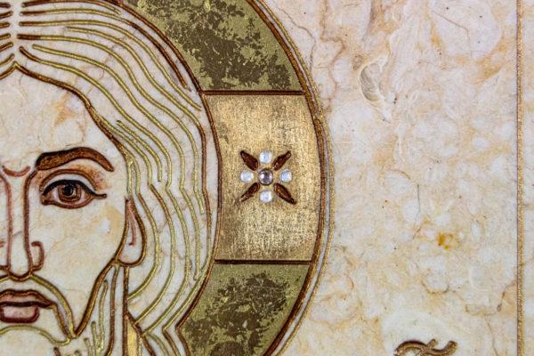 Икона Господа Вседержителя № 3-07 (Пантократор) из камня, Гливи, фото 2