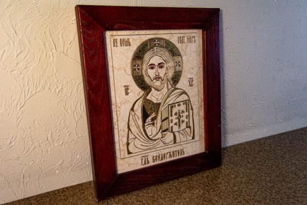 Икона Господа Вседержителя № 3-07 (Пантократор) из камня, Гливи, фото 6