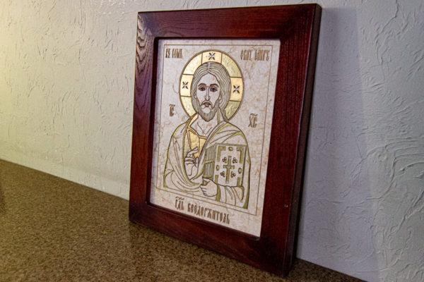 Икона Господа Вседержителя № 3-07 (Пантократор) из камня, Гливи, фото 10
