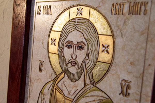 Икона Господа Вседержителя № 3-07 (Пантократор) из камня, Гливи, фото 11